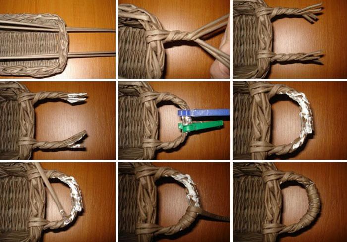 Как сделать корзину с ручкой из газетных трубочек