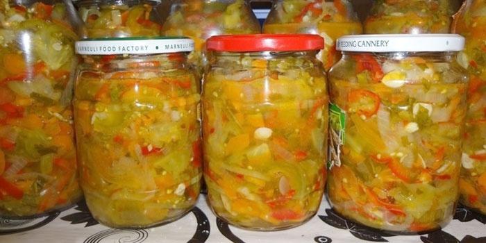 Рецепты на зиму салата из зеленых помидор на зиму