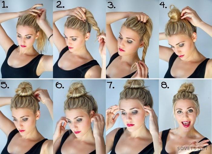 Шишка волосы как сделать