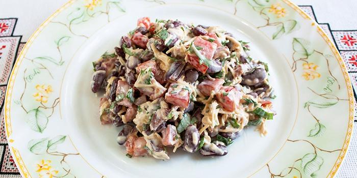 салат из шампиньонов простой рецепт с фото