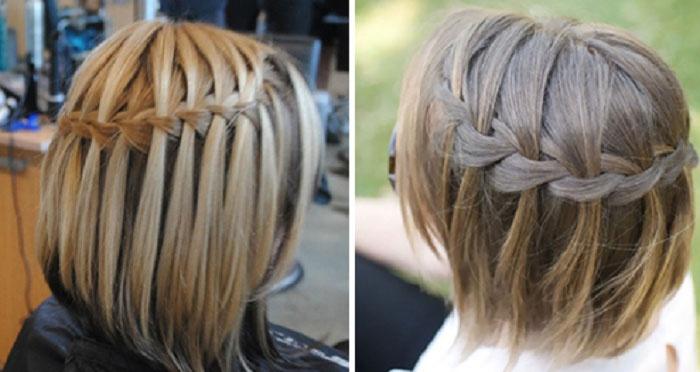 Прическа на короткие волосы фото с косами