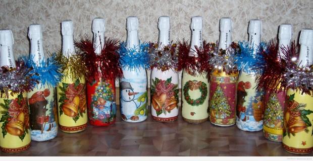 Как сделать декупаж бутылок